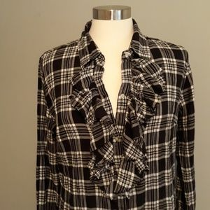 Converse One Star Black Plaid Ruffle Dress Size L